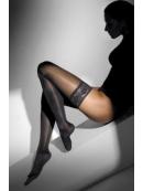 Punčochy s krajkou RELAX 140 DEN - hnědá, černá